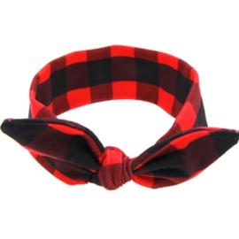 Haarband - geblokt rood