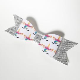 Haarclip big - zilver / unicorn