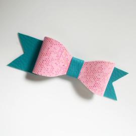 Haarclip small - roze/aqua blauw
