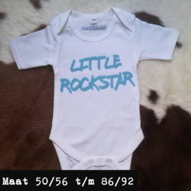 Wit romper - little rockstar blauw