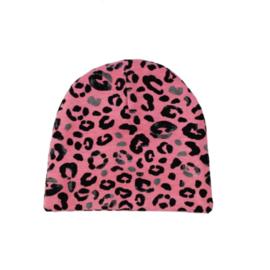 -handmade- beanie panterprint roze