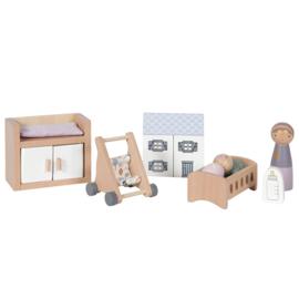 Tiamo Little Dutch aanvulset poppenhuis babykamer