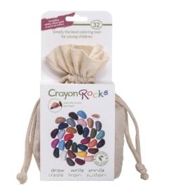 Crayon Rocks - 32 kleuren in ecru katoenen zakje