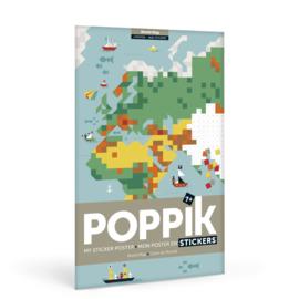 Poppik - Maak je eigen sticker poster: Wereldkaart