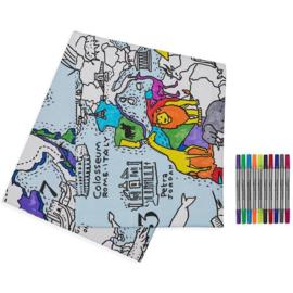 Eatsleepdoodle - Tafelkleed Wereldkaart