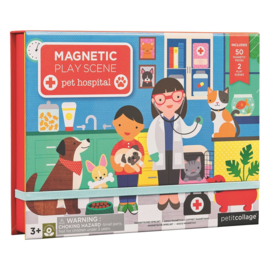 Petit Collage - Magnetic play scene: Huisdierenkliniek
