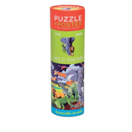 Crocodile Creek - Puzzel & Poster Wild Safari (100 st)