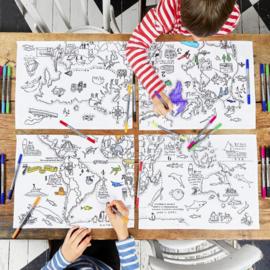 Eatsleepdoodle - Placemat Worldmap (set van 4)