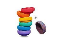 Stapelstein - Rainbow Basic (6 stuks) + Gratis Confetti Steen