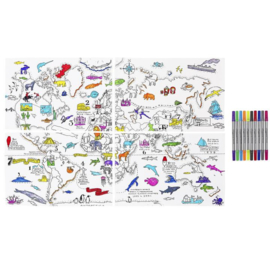 Eatsleepdoodle - Placemat Worldmap (set van 4)