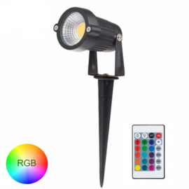 Tuinspot RGB 6W  | met prikspot | remote