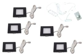 HERA | FQ-68 | Zwart | 5 inbouwspots dimbaar