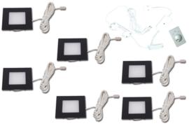 HERA | FQ-68 | Zwart | 6 inbouwspots dimbaar