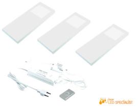 Keukenverlichting dimbaar HERA Slim Pad F wit set van 3