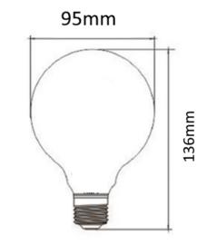 E27 LED Lamp dimbaar | Globe-M | helder | 4W | 2200K