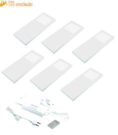 Keukenverlichting dimbaar HERA Slim Pad F wit set van 6