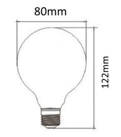 E27 LED Lamp dimbaar | Globe-S | helder | 4W | 2200K