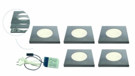 Opbouwspot vierkant | Marte | RVS | 5 LED spots