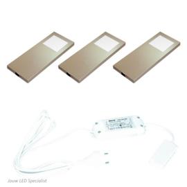 Keukenverlichting | HERA Slim Pad F RVS | set van 3