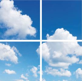 Wolkenplafond | Fotoprint | 4 panelen | 60x60 cm