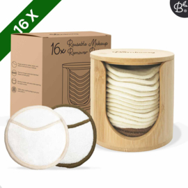 Bamboozy 16 witte wattenschijfjes incl. bamboehouder
