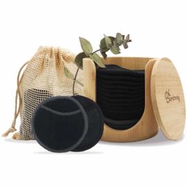 Bamboozy 16 zwarte wattenschijfjes incl. bamboehouder