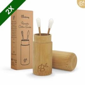 Herbruikbare oorstokjes in bamboehouder