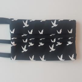 mondmasker zwart/wit vogels