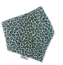 Bandana bib/ slabber panterprint groen.