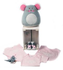 geboorte krat roze en grijs