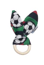 Bunny ears bijtring rood, zwart en groen