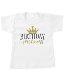 T shirt happy birthday princess goud