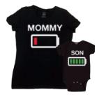 T-shirt en romper mama en zoon.