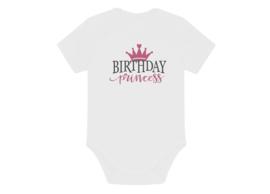 Romper happy birthday princess donker roze