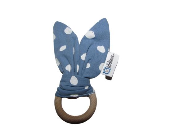Bunny ears blauw met stip.