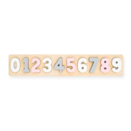 Jollein- Houten puzzel - cijfers 1-9 - Wit/Roze
