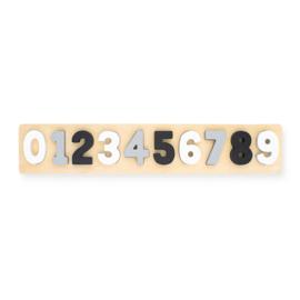 Jollein- Houten puzzel - cijfers 1-9 - Wit/Grijs