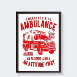 Amerikaanse ambulance vintage poster