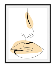 Lijntekening neus mond poster - kleur