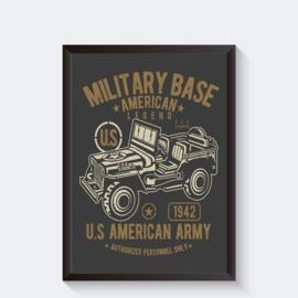 Stoere poster met Amerikaanse legerjeep