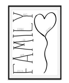 Familie poster met namen - Family
