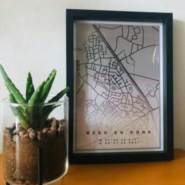 Plattegrond Stad of Dorp - Zwart Grijs aflopend