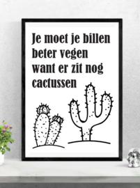 Cactus Toiletposter - zwart wit
