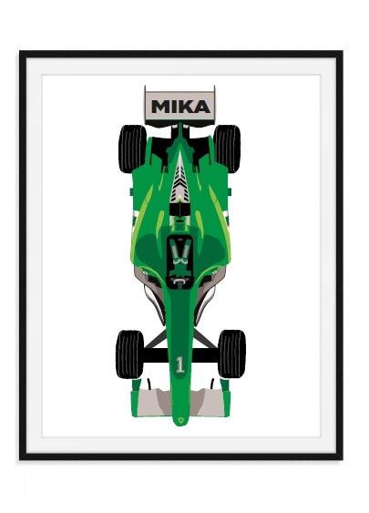 F1 racewagen met naam - hippe poster