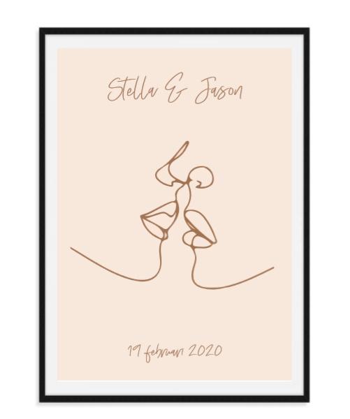 Twee kussende mensen - Poster met namen en datum