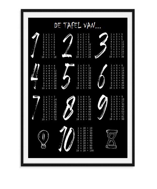 De tafel van - Poster zwart wit