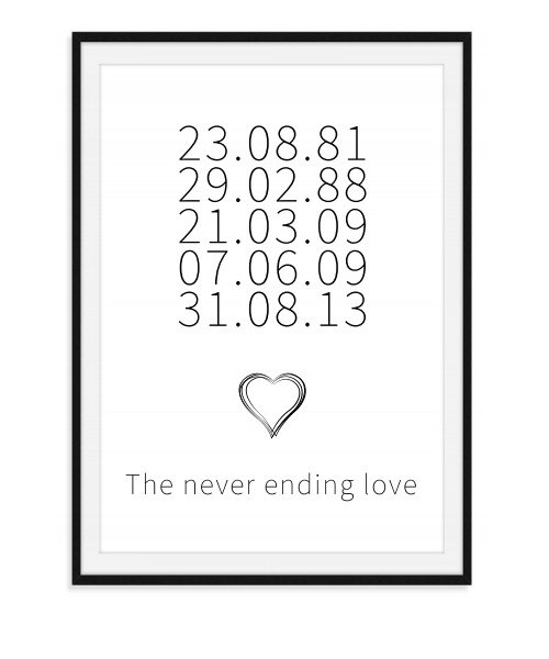 The never ending love - Data poster