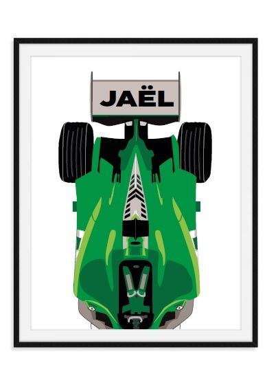 F1 car met naam - wandposter