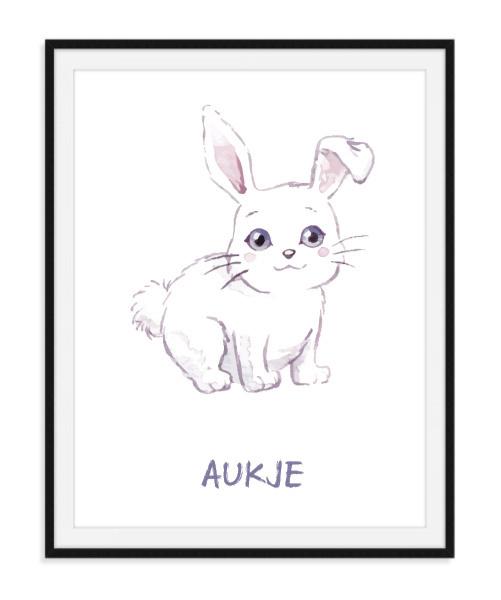 Aquarel poster met konijntje - Naam naar keuze