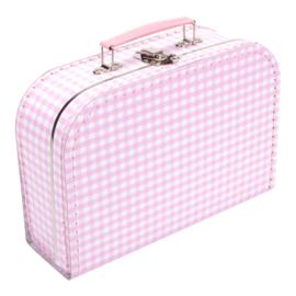 Koffertje roze wit ruit 25cm
